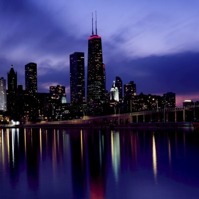 skyline, chicago, dusk